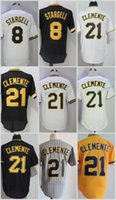 Wholesale Willie Stargell - Pittsburgh #8 Willie Stargell 21 Roberto Clemente Flexbase Jerseys Cool Base Throwback Stitched Black White Grey Yellow Retro Mesh Pullover