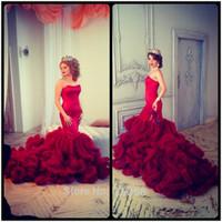 Wholesale Satin Corset Bodice Wedding Gown - Sexy Sweetheart Bodice Corset Red Satin Tulle Ruffles Mermaid Wedding Dresses Cloud Wedding Gowns Russia 2016 Bruidsjurken