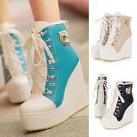 Wholesale Cheap Fashion Wedges - Blue Yellow Ivory Black Cheap Fashion Sneakers Boots High Qualirty Winter Boots 2015 New Women Wedge Platform Pumps Synthetic Leather Shoes