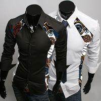 Wholesale Horn Buttons Men Fashion - 2016Men's long sleeve shirt men casual shirt Slim young fashion print shirt influx of men 4341