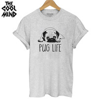 Wholesale Pug Print T Shirt - Wholesale-THE COOLMIND Top quality Cotton cut pug print women T shirt casual o-neck women T-shirt 2017 new design woman tee shirts