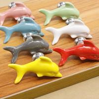 Wholesale wholesale cupboard knobs - Ceramics Dolphin Doorknob For Creative Fashion Multi Function Door Handle Cupboard Furniture Drawer Wardrobe Knobs 3 85pn C RW