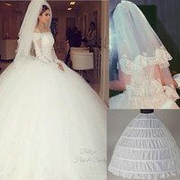 Wholesale Image Make Up Set - Cheap Ball Gown Wedding Dresses with Long Sleeves and Veil and Petticoat Set DHYZ 01