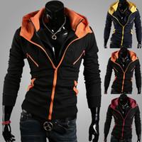 Wholesale Plus Size Orange Cardigan - Men's Autumn and Winter Cotton Zipper Cardigans Slim Jackets Fashion Casual Slim Plus Sizes Patchwork Zipper Cardigans