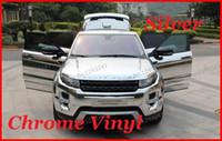 vinilos cromos adhesivos al por mayor-1 PC 1.52Mx30 CM Silver Chrome Vinyl Film Car Sticker Cromado vinilo Car Warp ENVÍO GRATIS