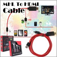 Wholesale Mhl Cables - HDMI Cable Full HD 1080P Micro USB MHL To HDMI HDTV Adapter Converter Phone Digital Cable For Samsung S3 S4 with retail box