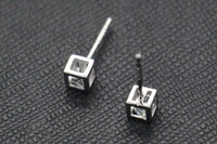 Wholesale Sending Earring Boxes - Love Rubik's cube S925 sterling silver earrings earrings send Tremella three-dimensional box hollow block