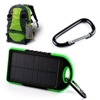 Wholesale Gps Solar Power - 2015 Hot 5000 mAh Portable Solar Charger Power Bank For iphone ipad Andriod Phone GPS Decives Cameras With Carabiner Dual USB Ports