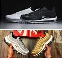 Wholesale Bullet Rivets - 12 Colors MExes 97 OG Metallic Gold Silver Bullet Running Shoes Fashion High Quality Men Women Sneakers Sports Shoes Size 36-46 US 12