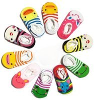 Wholesale Fedex Shipping Slip - Free UPS Fedex Ship 2016 Baby Boys Girls Boat Socks Children's Shoes Antiskid Non-slip Bottom Cartoon 9-15cm kids toddle socks 15Colors