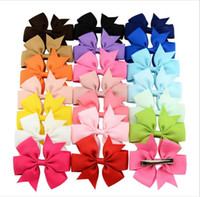 Wholesale Ribbon Pins - Fashion 3 Inch Cute Boutique Hair Pin Grosgrain Ribbon Bows Hairpins Little Girl Bows Hair Clips Kids Headwear Accessories New 40 Colors