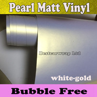 Wholesale Vinyl Wrap Gold Film - Peral white to gold Vinyl Wrap White Pearlescent Matte Vinyl Car Wrapping Film Sticker With Air drain Vehicle Styling 1.52*20M Roll