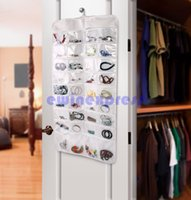 Wholesale Jewelry Storage Hanging Bags - Double sided 72 pockets Hanging Jewelry Organizer Display Earring Rings Necklace Bracelets Holder Storage Bag