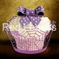 Wholesale Cupcake Wrappers For Sale - 120pcs in a lot ST1010-11 Hot Sale Laser Cutting Spider Cupcake Wrapper for Halloween Party Cake DEcoration