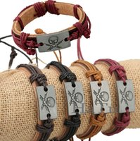 Wholesale Cow Gift Wrap - PUNK bracelet Men Skull Head Cuff Bracelets Surfer Tribal Wrap Wrist Women Jewelry Real Cow Leather Bracelet