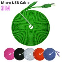 Wholesale Galaxy S4 Noodle Cable - Flat Noodle Nylon Charger Cable Fabric Braided Micro USB Charging Data Sync Cord for Samsung Galaxy S6 S4 S3 HTC Sony High Quality 1M 2M 3M