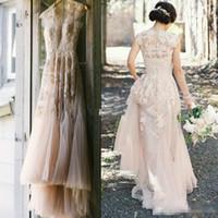 sheer wedding dresses al por mayor-2016 Vintage Blush pink A-Line Tulle país vestidos de boda Sheer V cuello apliques palabra de longitud por encargo más tamaño vestidos de novia baratos