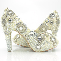 Wholesale Pump Up Pictures - 2016 Peep Toe Women Shoes Crystal Wedding Bridal High Heel Shoes High Quality Party Prom Dress Shoes Real Picture Free Shipping