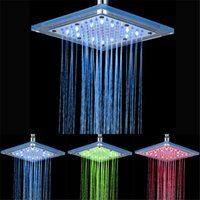 Wholesale Hydraulic Brass - 8 inch Hydraulic Led Shower Head 3 Colors Changing,Bathroom LED Shower Head,LED Light Shower Head
