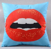 Wholesale Makeup Chairs - Red Lips Makeup Pillows Cushions Cover Heart Kiss Me Love Cushion Cover Velvet Pillow Case Present For Sofa Couch Seat Chair Decoration