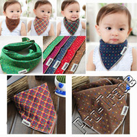Wholesale Children Scarfs Triangle - Double Sided Baby Lunch Bibs Bandana Saliva Towel Kids Dribble Drool Catcher Children Triangle Head Scarf Adjustable Plaid 00784