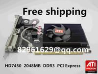 ati radeon tarjetas gráficas al por mayor-Venta al por mayor-libre 100% nuevo Radeon HD7450 2g 2048m tarjeta gráfica de media altura tarjeta vga tarjeta pk hd6450 HD6350 gt520 gt610 gt210