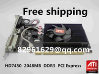 Wholesale Graphics Cards Ati - Wholesale-Free Shipping 100% New Radeon HD7450 2g 2048m half-height graphics card vga card knife card pk hd6450 HD6350 gt520 gt610 gt210