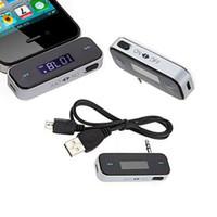 araba radyosu için usb kabloları toptan satış-Yüksek Kaliteli FM Radyo Verici USB Araç Şarj + Kablo iPhone HTC Samsung iPod Dokunmatik Ücretsiz Nakliye için