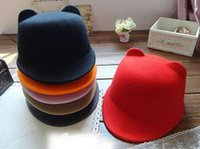 Wholesale Ear Bowler Hat Red - New spring Fashion Women Devil Hat Cute Kitty Cat Ears Wool Derby Bowler Cap