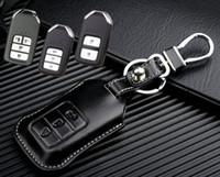 honda araba anahtar kapağı toptan satış-Deri Araba anahtar Fob Kapak Honda Hrv Cr-v Crosstour için 2015 2016 Accord Odyssey Akıllı Uzaktan Anahtarsız Anahtar Dava Tutucu aksesuarları