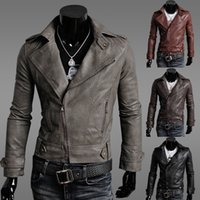Wholesale Short Brown Leather Jackets - 2017 Autumn New Year Fashion Chrismas Jacket Cool Men Slim Lapel Neck PU Leather Motorcycle Jacket Coat Cool Man Jacket Outwear US 4 Size