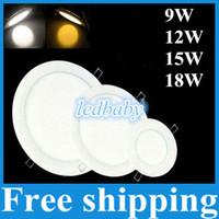 lámparas de techo led brillante al por mayor-Luces de panel LED ultrafinas-ultra brillantes-9W 12W 15W 18W SMD2835 Downlight AC110-240V con luces de techo para accesorios de suministro de energía