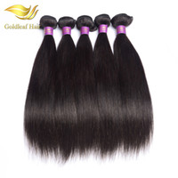 Wholesale Top Quality Brazilian Remy - Top quality Goldleaf 1pc Malaysian human straight weft Brazialin hair Peruvian hair Indian Mongolian virgin remy hair