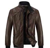 Wholesale Genuine Leather Biker Jacket - New fashion men's leather jacket men leather bomber biker leather jackets for men skin jacket coat free shipping
