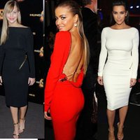 2015 Beliebte Sterne Bandage Kim Kardashian Kleid Long Sleeve Zipper Jennifer Lawrence Jennifer Lopez Backless Bodycon Vestidos