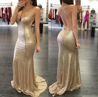 Wholesale spaghetti strap nude sequin dress - 2017 Gold Sheath Evening Dresses Sexy Backless Plunging V-neck Mermaid Arabic Prom Party Gowns with Spaghetti Straps