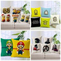 Minion mario Prix-Star Wars Taie Minions Cartoon Housses de coussin Super Mario The Avengers Pillow Cover Movied Cartoon connexes Housses de coussins