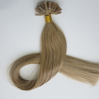 Wholesale lights u for sale - Group buy 50g Strands Pre Bonded Nail U Tip Hair Extensions Brazilian Indian human hair inch Light Golden Brown top quality