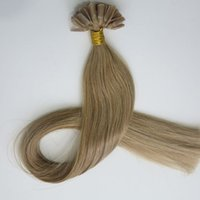 Wholesale Medium Top Hair Piece - 50g 50Strands Pre Bonded Nail U Tip Hair Extensions Brazilian Indian human hair 20 22inch #12 Light Golden Brown top quality