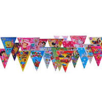Wholesale Pennants Banner - HAPPY BIRTHDAY Color Flags Banners Children Birthday Party Decoration Hanging Paper Flags Pennant Festive Party Supplies Party Favors SD456