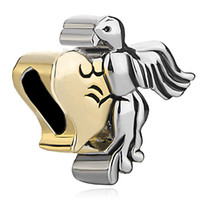 Wholesale Gold Peace Symbol Charm - Symbol Of Love Peace Dove Bead In Rhodium Silver Color and gold Plating Charm Fit Pandora Bracelet