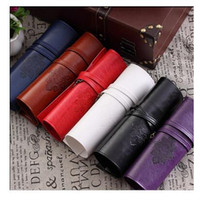 Wholesale Twilight Pens Pencils - PU School Pen Pencil Case Twilight New Moon Vintage Roll Make upCosmetic Bag Luxury Women Makeup Brush Organizer handbags Free Shipping