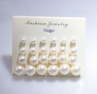 boucles d'oreilles pour dames achat en gros de-Boucles D'Oreilles Pour Femme Mode Perle Blanche Piercing Boucles D'Oreilles Femmes Lady Jewelry 6mm / 8mm / 10mm / 12mm Mix Taille 1 Carte 12 Paires Perles Boucles D'oreilles