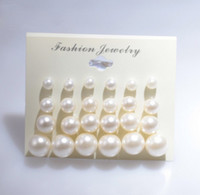 Wholesale Fashion Earring Cards - Earings for Woman Fashion White Pearl Piercing Stud Earrings Women Lady Jewelry 6mm 8mm 10mm 12mm Mix Size 1 Card 12 Pairs Pearls Earrings