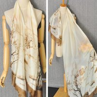 Wholesale Golden Forest - Korean Golden Autumn Style Scarf Women's Silk Rural Design Forest Tree Printed Scarves 2015 Fashion Pattern