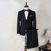 Wholesale One Peice Pant - Tuxedo New Wall Street Black Wool 2 Button Business Suit Formal Wedding Suit Jacket Blazer and Pants 2 Peice Size