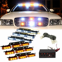 Wholesale led dash lights white - 54 LED Truck Car Vehicle Strobe Warning Light Lightbars for Deck Dash Grill Windshield Headliner White Amber or Amber