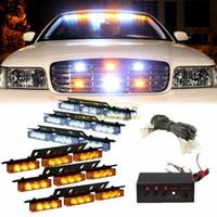 12v auto führte bindestrich licht großhandel-54 LED-Fahrzeug-Warnleuchte / Leuchtbalken für Deck Dash Grill Windshield Headliner Weiß Amber oder Amber