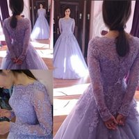 Wholesale Violet Pink Prom Dresses - 2017 New Arrival Violet bateau Neck Long Evening Dress Long Sleeves A-Line Court Train Lace Tulle Formal prom Dresses Robe de soiree
