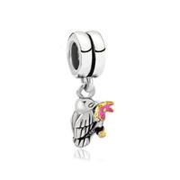Wholesale Bit Flower - Shenzhen factory bird biting pink flower pendant dangle metal slide bead European spacer charm fit Pandora Chamilia Biagi charm bracelet